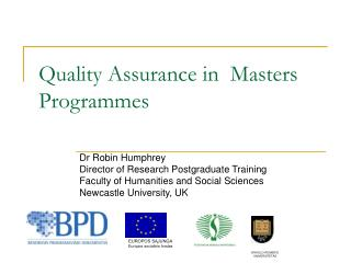 Quality Assurance in  Masters Programmes