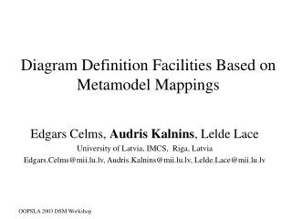 Diagram Definition Facilities Based  o n Metamodel Mappings