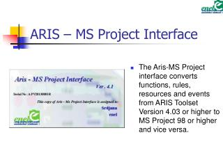 ARIS – MS Project Interface