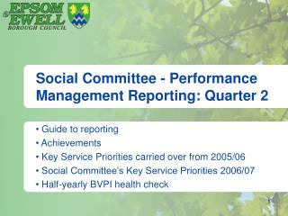 Social Committee - Performance Management Reporting: Quarter 2