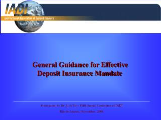 General Guidance for Effective Deposit Insurance Mandate