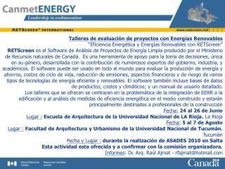 Talleres de evaluación de proyectos con Energías Renovables
