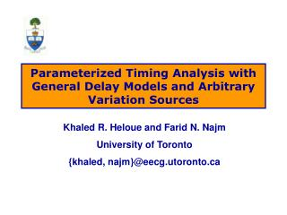 Parameterized Timing Analysis with General Delay Models and Arbitrary Variation Sources