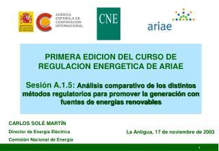 CARLOS SOLÉ MARTÍN Director de Energía Eléctrica Comisión Nacional de Energía
