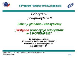 Dr Maria Antosiewicz Krajowy Punkt Kontaktowy 6PR UE Warszawa, ul.Swiętokrzyska 21