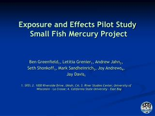 Exposure and Effects Pilot Study  Small Fish Mercury Project