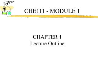 CHE111 - MODULE 1
