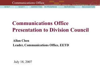 Communications Office Presentation to Division Council