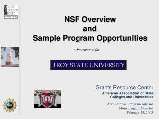 NSF Overview  and  Sample Program Opportunities