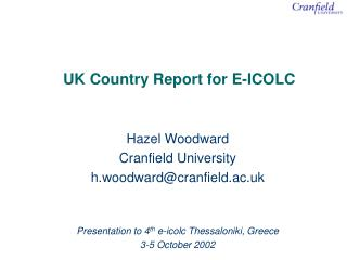 UK Country Report for E-ICOLC