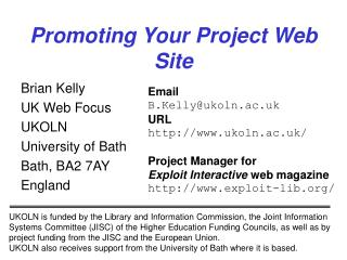 Promoting Your Project Web Site