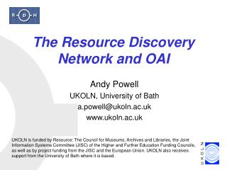 The Resource Discovery Network and OAI