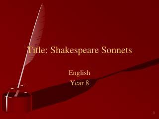 Title: Shakespeare Sonnets
