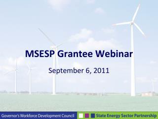 MSESP Grantee Webinar