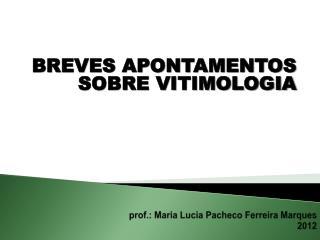 prof.:  M aria  L ucia  P acheco Ferreira  M arques 2012