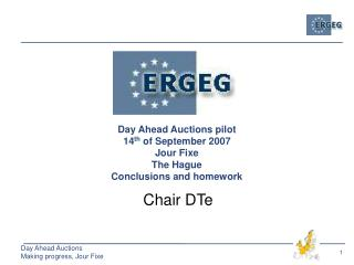 Day Ahead Auctions pilot  14 th  of September 2007 Jour Fixe The Hague Conclusions and homework