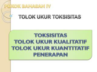 TOLOK UKUR TOKSISITAS