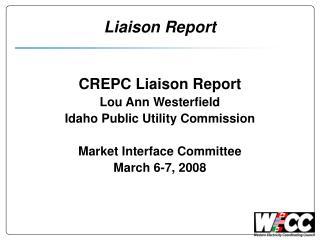 Liaison Report