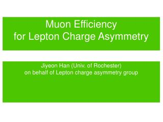 Muon Efficiency  for Lepton Charge Asymmetry