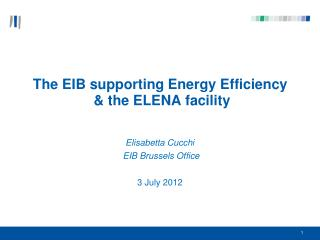 The EIB supporting Energy Efficiency  & the ELENA facility