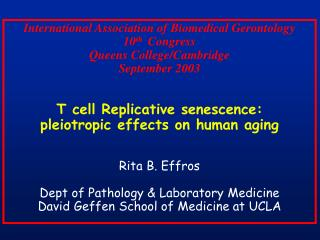International Association of Biomedical Gerontology 10th  Congress Queens College