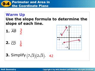 Warm Up Use the slope formula to determine the slope of each line. 1. 2. 3.  Simplify
