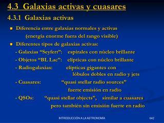 4.3.1  Galaxias activas