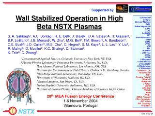 Wall Stabilized Operation in High Beta NSTX Plasmas