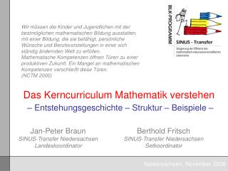 Das Kerncurriculum Mathematik verstehen    Entstehungsgeschichte   Struktur   Beispiele