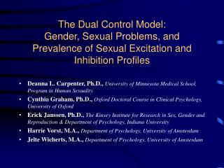 The Dual Control Model:   Gender, Sexual Problems, and Prevalence of Sexual Excitation and Inhibition Profiles