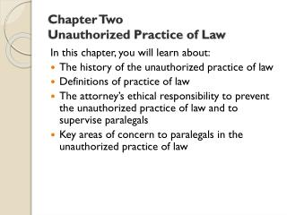 Chapter Two Unauthorized Practice of Law
