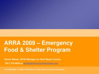 ARRA 2009 – Emergency Food & Shelter Program