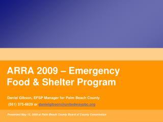 ARRA 2009 � Emergency Food & Shelter Program