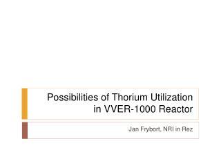 Possibilities of Thorium  U tilization in VVER-1000 Reactor