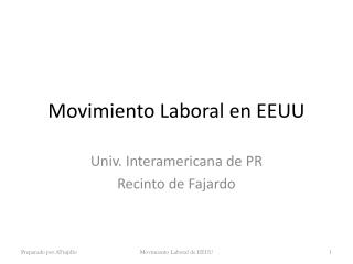 Movimiento Laboral en EEUU