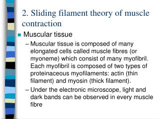 2.  Sliding filament theory of muscle contraction