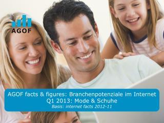 AGOF facts & figures:  Branchenpotenziale im  Internet  Q1 2013: Mode &  Schuhe