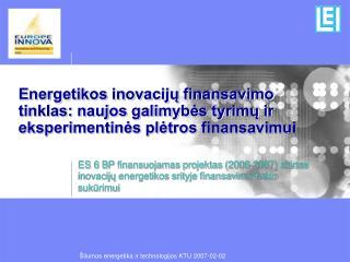 EIFN – Inovacijų energetiko j e finansavimo tinklas