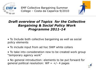 Draft overview of Topics  for the Collective Bargaining & Social Policy Work Programme 2011-14