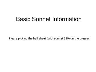 Basic Sonnet Information