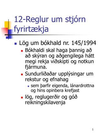 12-Reglur um stjórn fyrirtækja