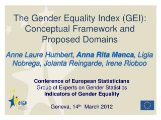 The Gender Equality Index (GEI): Conceptual Framework and Proposed Domains