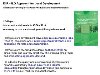 Infrastructure Development: Poverty Reduction and Income Generation