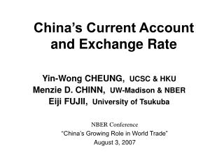 China's Current Account and Exchange Rate