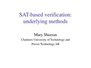 SAT-based verification: underlying methods