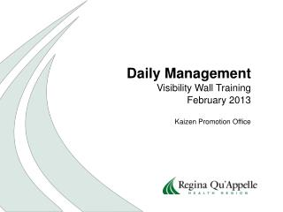 Daily Management Visibility Wall Training February 2013