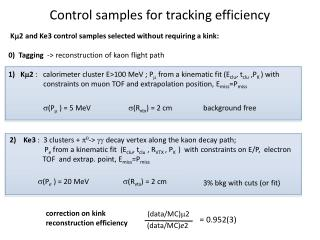 Control samples for tracking efficiency