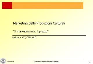 """Marketing delle Produzioni Culturali """"Il marketing mix: il prezzo"""""""