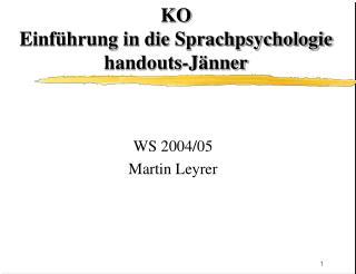 KO Einf�hrung in die Sprachpsychologie handouts-J�nner