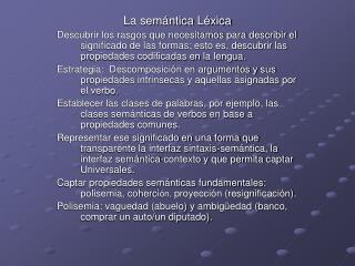 La semántica  Léxica